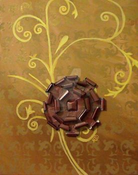 Metal flower on canvas. by SqueekSquirrel