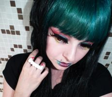 Green hair colorful makeup girl by cherrybomb-81