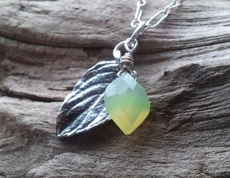 Elven Silver Leaf and Green Chalcedony Pendant by QuintessentialArts