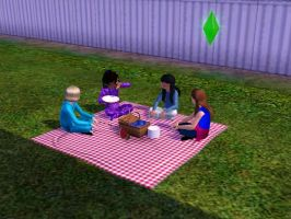Sims 3 - Beauregarde Girls and I eat at the picnic by Magic-Kristina-KW