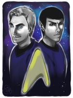 Kirk and Spock by applejaxshii