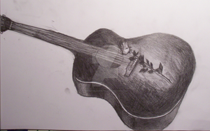 Guitar with a rose by snowyblackrose