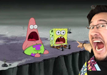 Markiplier pointing at Spongbob and Patrick by onyxcarmine