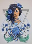 Portrait and Chrysanthemum (blue) by mad-smile
