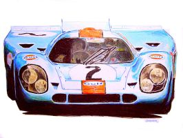 Gulf Porsche 917 by johnwickart