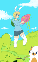 Fionna and Cake's Honey Bunny Easter (flats) by funnbunns