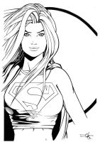 Supergirl Hires inks for colouring comp! by Carl-Riley-Art