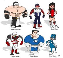 SuperDude Character Line-Up by AngelCrusher