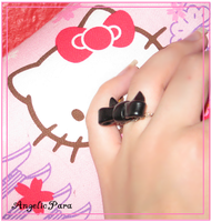 Fimo - Black Bow Ring by AngelicPara
