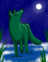Green Wolf by DragonNightArt