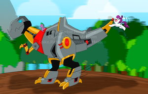 Dinobots, Dragons and Ponies by clipchip