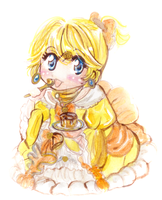 chibi Riliane Lucifen d'Autriche and flan by isabelFenix