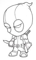 Little Deadpool (lines) by josh308