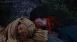 {Merida/Rapunzel} Sleep time. by SweetKairi1992