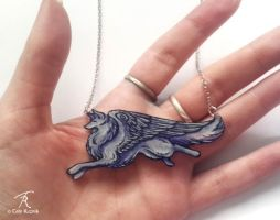 Grey Angelwolf Necklace by TrollGirl