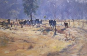 Bovine Boulevarde- Oil Painting by AstridBruning