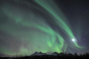 Auroras above Mjelle Mountains by SindreAHN