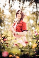 Aerith Gainsborough : Flowerfield by princess-soffel