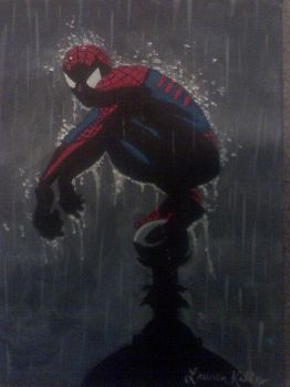Spider-Man in the Rain by willowdecree