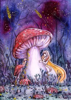 Mushroom fairies by MaryIL