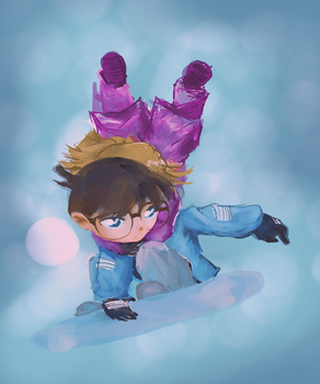 Conan and Ai Snowboarding by chiQs09