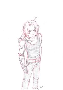 sketch of Edward Elric by nocturnalMoTH