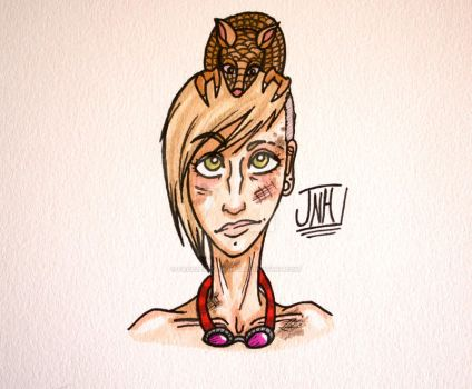Just a girl and her Armadillo by Facelessdemons