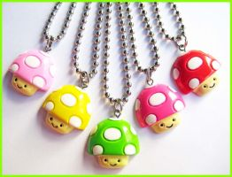 Happy Mushroom Necklaces by cherryboop