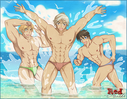[OC] The Hunk Trio's Refreshing Summer by RedArashi