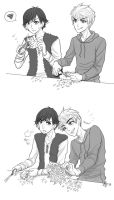 Hiccup and Jack - Making Paper Snowflakes by hyacinthess