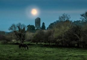 MOON over CONNA CASTLE done by lornamacdonald