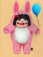Happiness is a Pink Bunny Suit by CandyAppleCat