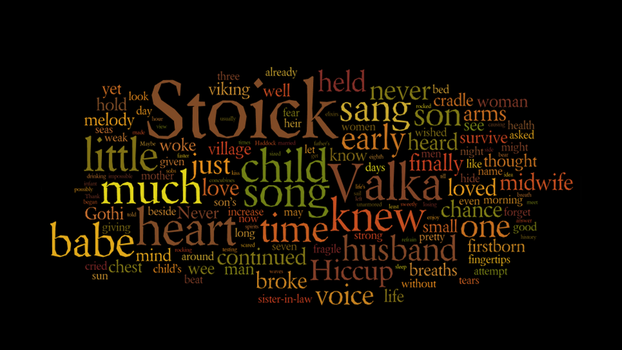 Valka's Hiccup wordcloud by Evelynwn