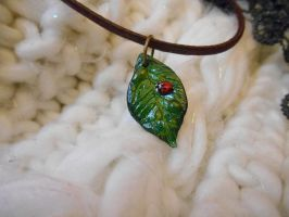 Leaf with Ladybug Polymer Clay Necklace 01 by Alhys