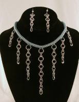 Frosted Silver/ Blue Full Persian Chainmaille by ArmouredWolf907