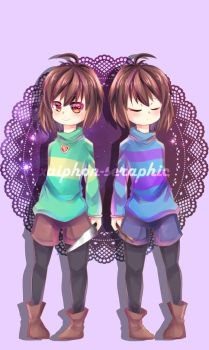 Undertale - Chara and Frisk by xaiphon-seraphic