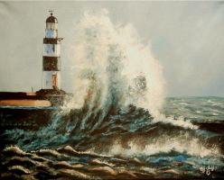 Lighthouse my painting by cliford417