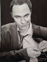 My Drawing of Sheldon Cooper using graphite pencil by riotghurl