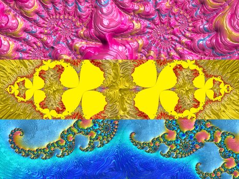 Pansexual/romantic Fractal Aesthetic Flag by Aquatic-Candle