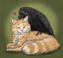 Bird Loves Cat by SageKorppi