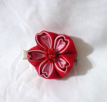 Red and pink cherry blossom kanzashi by EruwaedhielElleth