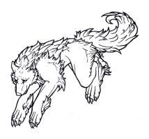 Muriell - wolf- lineart by Samantha-dragon