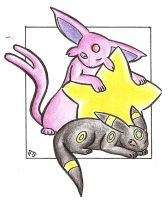 Star - Espeon Umbreon .colour. by Fluna