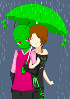 Me and Zim in the rain by XxXPixelPerfectXxX