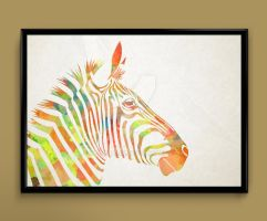 zebra watercolor print by ColourInk