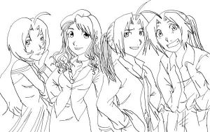 FMA: other world group lineart by Nishi06