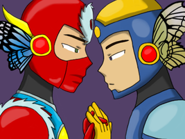 magnet: Metal Man x Flash Man by MrTwinklehead