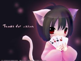 Catgirl with cards by ocarina-CD