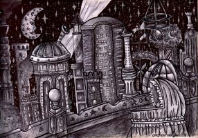 An Astronomer's City-Original by crescentshadows19