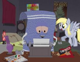 Derpy drops by towelie's house by Slousberry